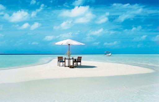 sandalyeler, üstünde, plaj, üstünde, maldives, atoll