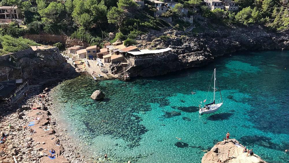 Sailboat Anchored in a Bay in Mallorca
