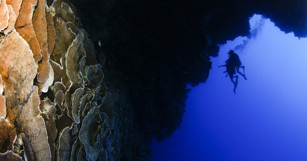Scuba diver Mısır'daki mavi delik mesafesi