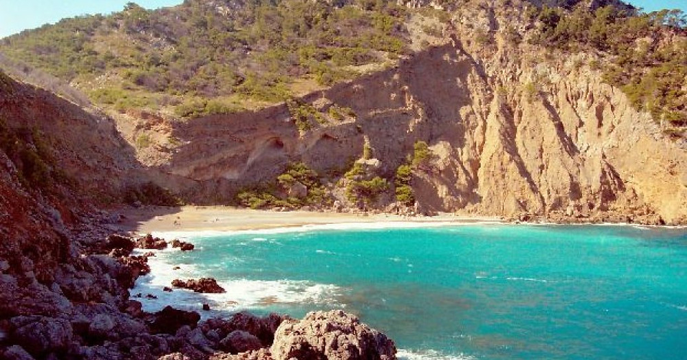 Balearics Mallorca'da Baix plajı topla