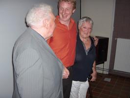 """Will, Nicolaas Rahoens en Jo na de eerste voorstelling """"My Donna"""""""