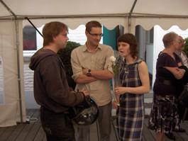 Actrice Marleen Morbée (de jonge Jo Leemans) en vrienden