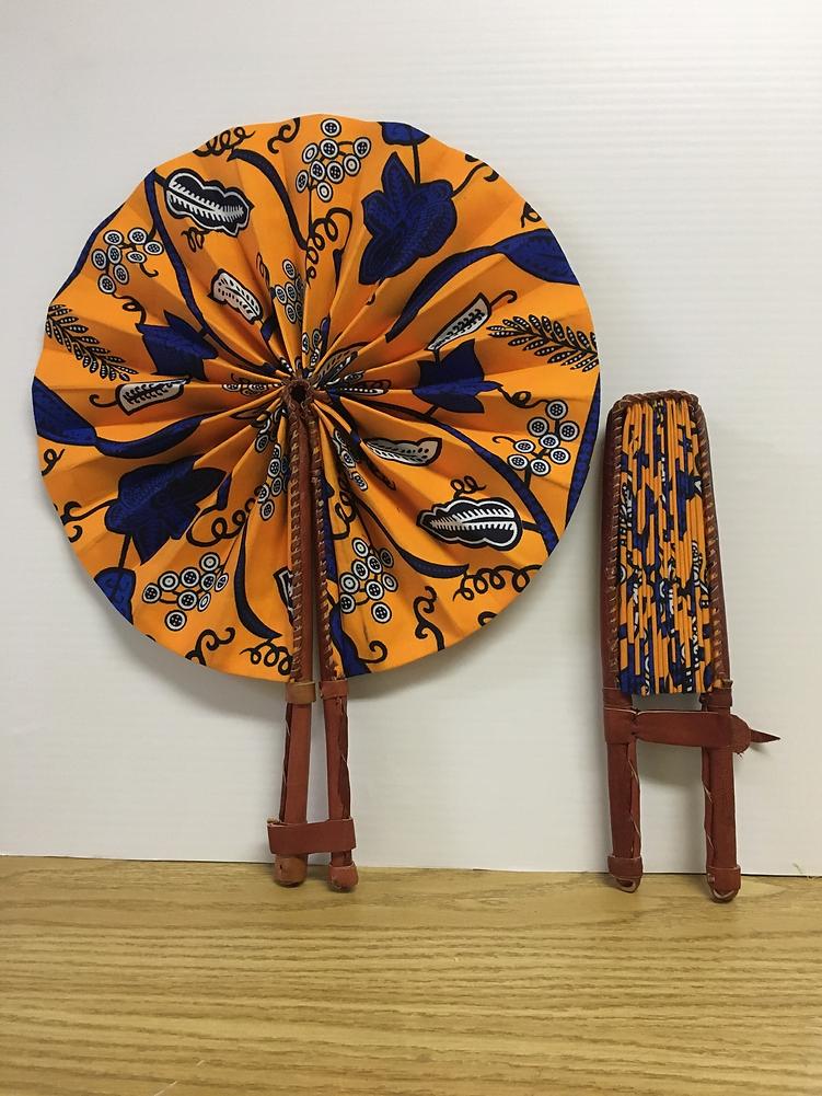 Fan made of Ankara fabric sourced and ma