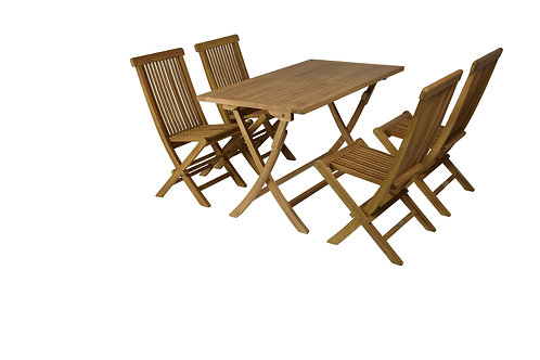 Conj. Mesa rectangular 120x70 teca + 4 cadeiras