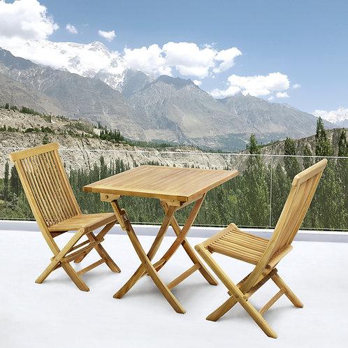 Conj mesa 70x70 + 2 cadeiras teca