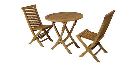 Conj. Mesa redonda 80 + 2 cadeiras teca