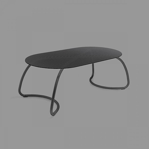 Mesa Loto dinner 190 tampo vidro estrutura aluminio