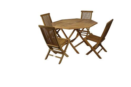 Conj Mesa 120 octogonal e 4 cadeiras teca