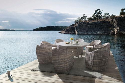 Conjunto Aurora mesa de 160 + 6 cadeiras
