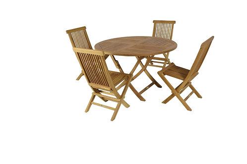 Conj Mesa redonda 100 cm +4 cadeiras teca