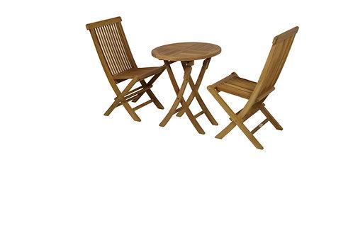 Conj Mesa redonda 60 + 2 cadeiras teca