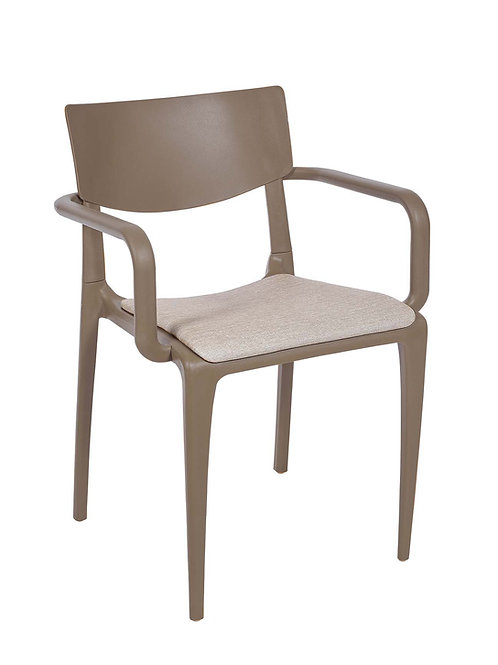 Cadeira Town Taupe c Braços Pad MS-Tow10024X00/ 015S01taupe