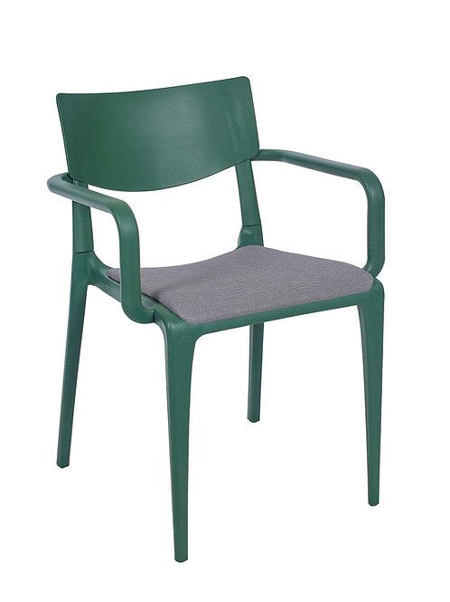 Cadeira Town Green c Braços Pad MS-Tow10054X00/ 013S01Cinza