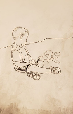 Little Boy Drawing with Chalk