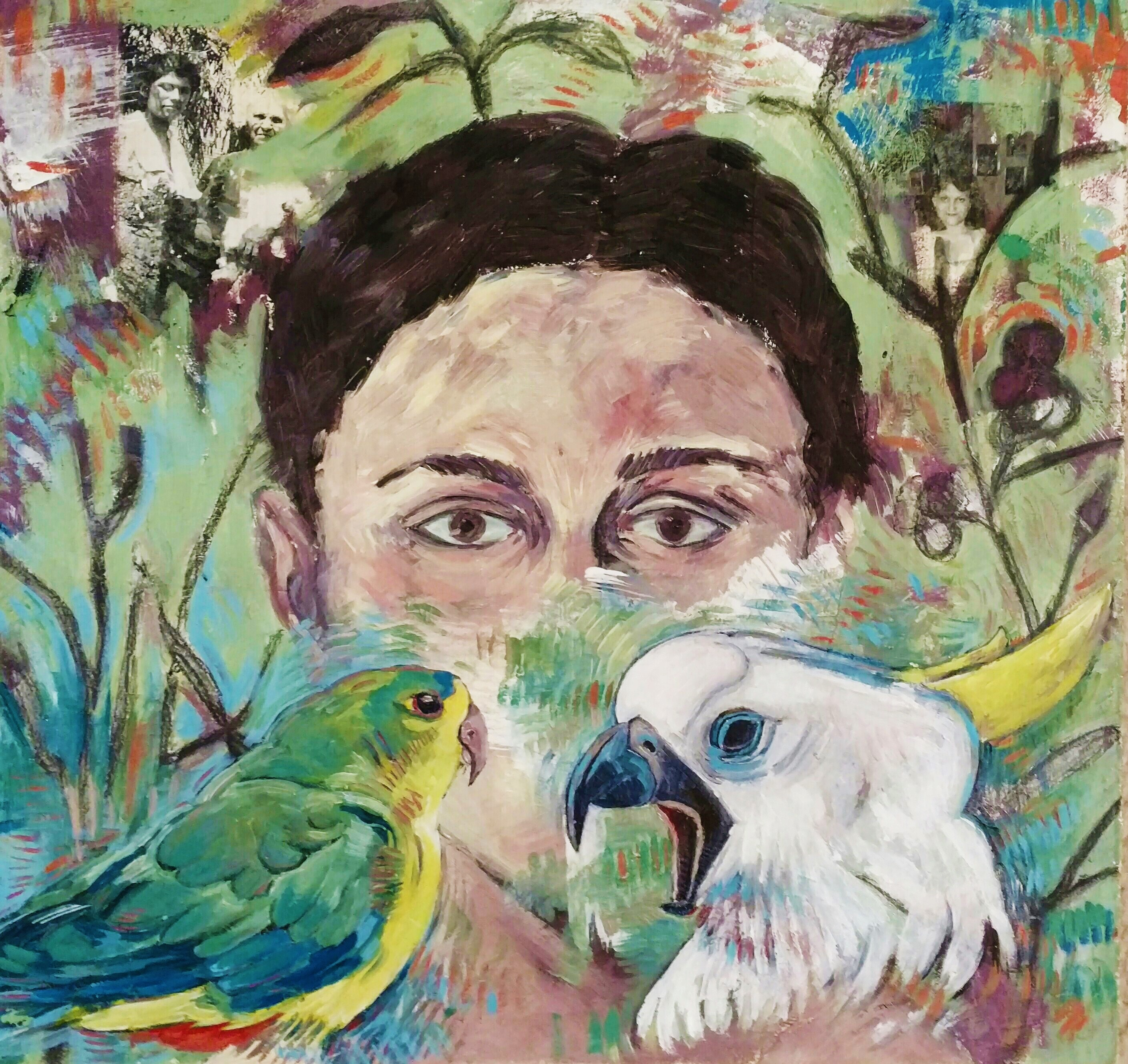 Self Portrait with Birds II