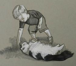 Little Boy Petting a Cat