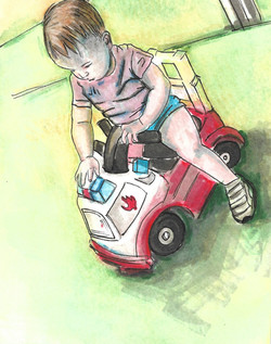 Riding a Toy Truck