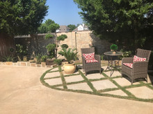 Diamond Patterned Patio with Grass Borders