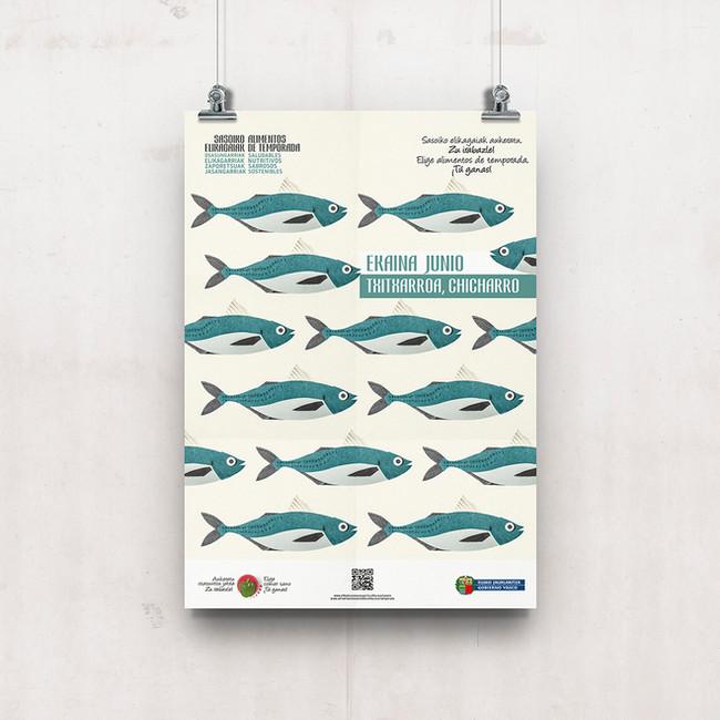 Cartel el chicharro, pescado de temporada Junio