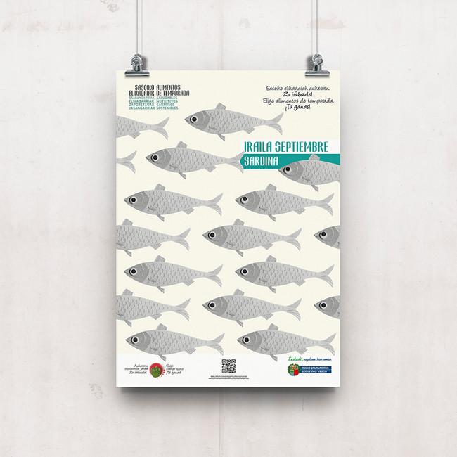 Cartel la sardina, pescado de temporada Septiembre