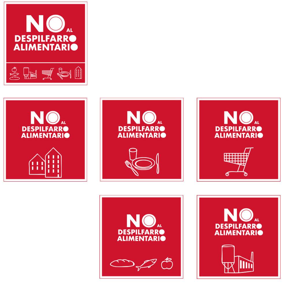 Versiones por sectores del logotipo No al despilfarro alimentario.