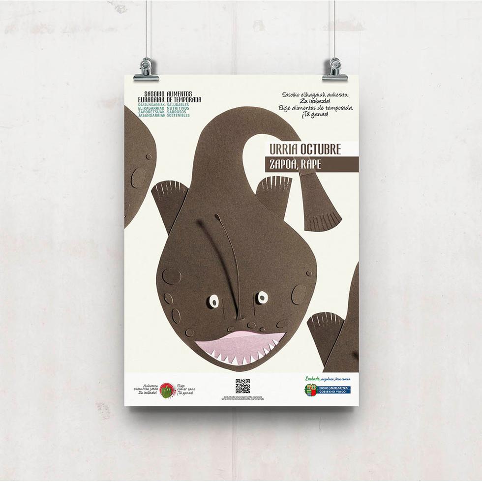 Diseño de cartel el rape, alimento de temporada