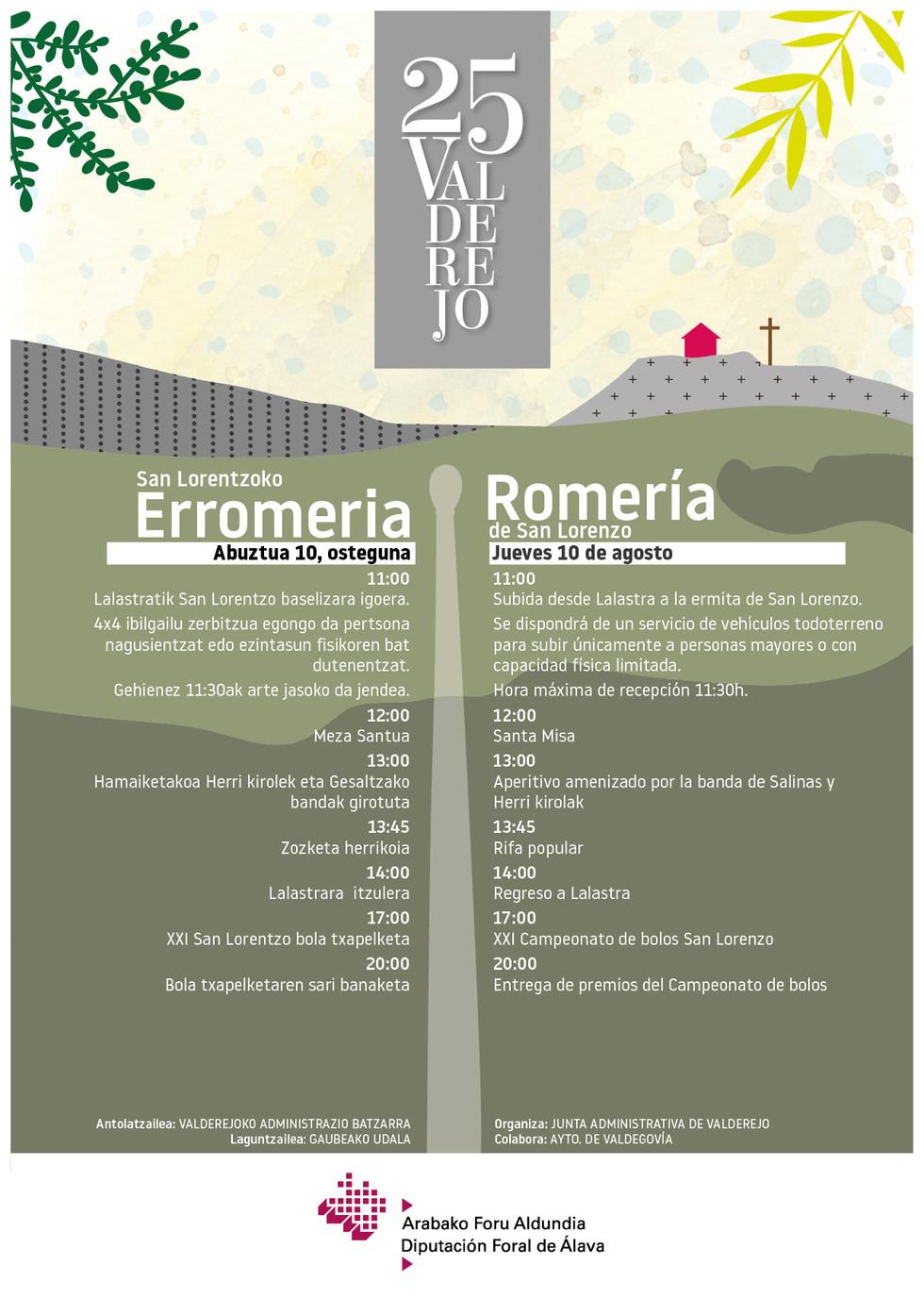 Cartel Romería 25 aniversario de Valderejo_agosto