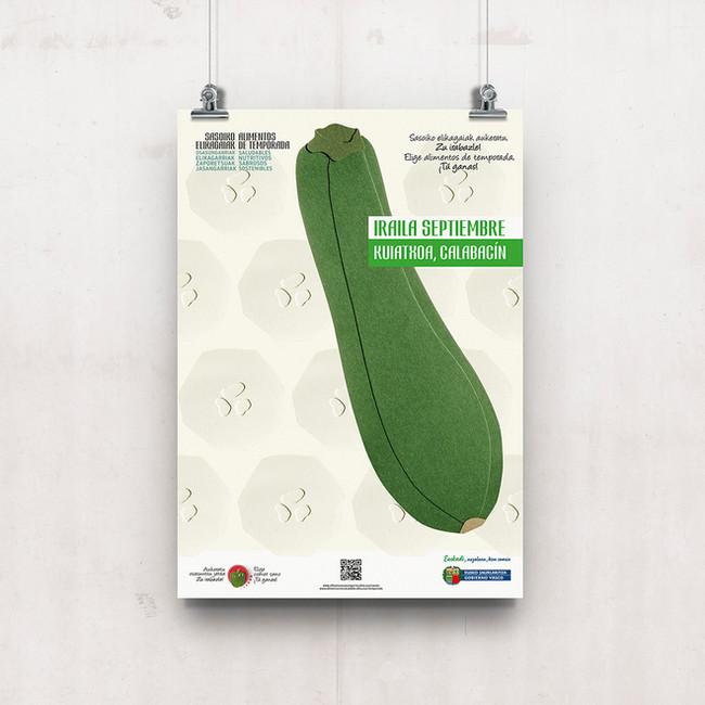 Cartel el calabacín, verdura de temporada Septiembre
