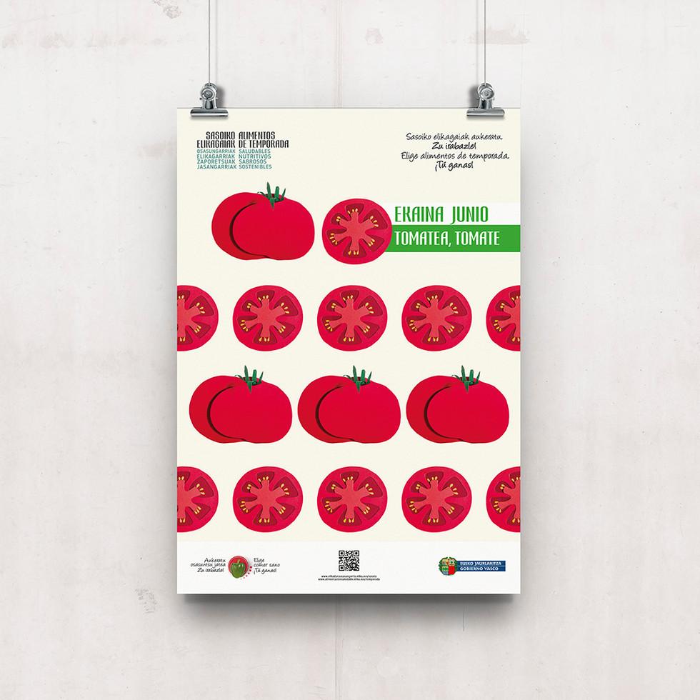 Cartel tomate, alimento de temporada.