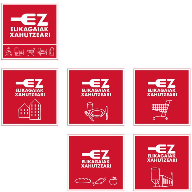 Versiones por sectores del logotipo No al despilfarro alimentario, euskera.