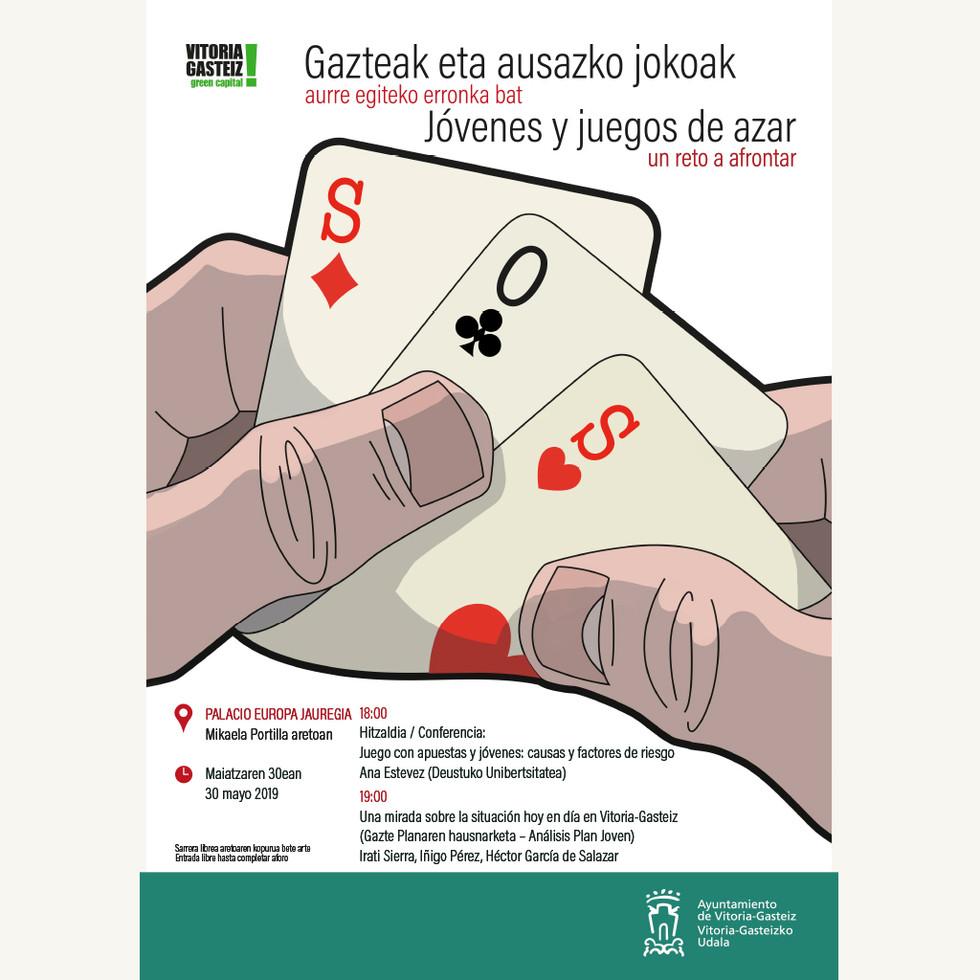 Cartel Ayto Vitoria Gasteiz, jóvenes, juego y azar.
