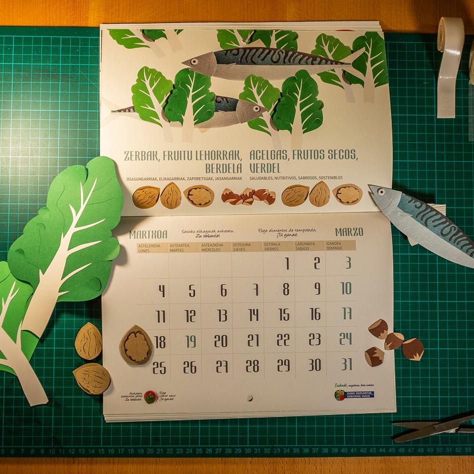 Diseño de calendario alimentos de temporada