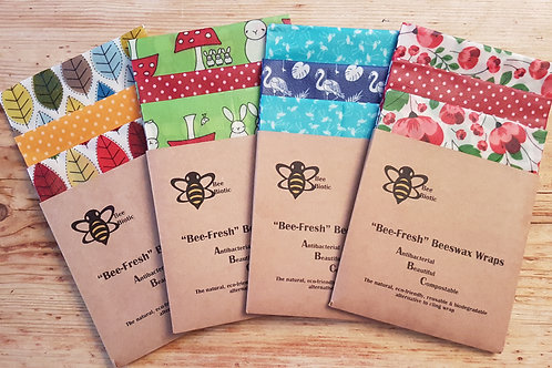 """Triple Pack """"Queen Bee"""" Large Size 33cm x 33cm Bee-Fresh Wraps"""