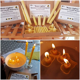 beeswax candlemaking kit collage showing contents a lit tall candles & floating candles