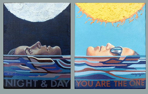 Night & Day dyptic  Acrylic on 2 Canvases
