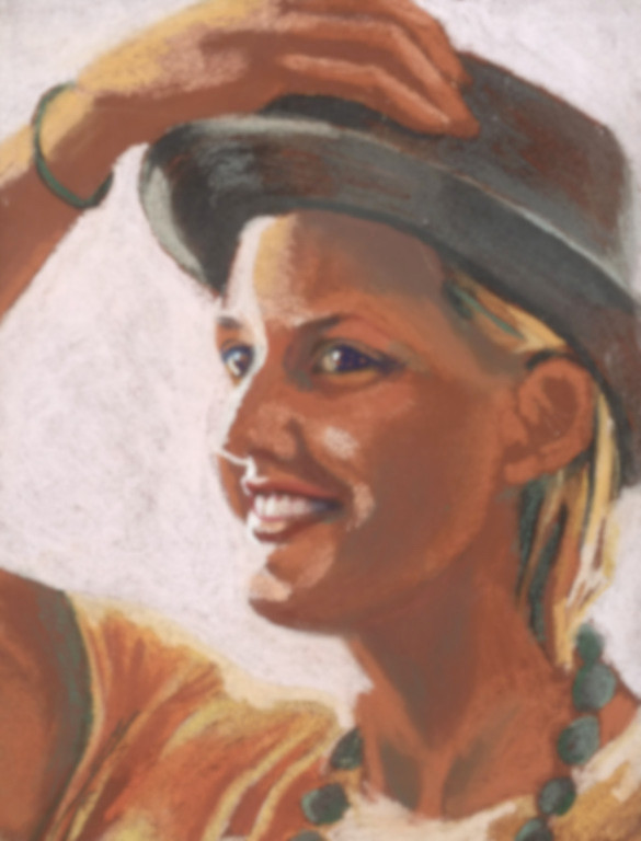 Girl doffs hat