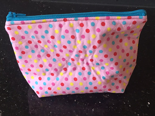 Pink Dot Print Medium Pouch