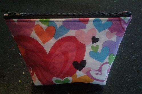 Multi-colour Heart Print Medium Pouch