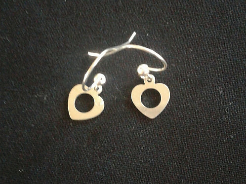 Heart with Cut Out Circle Earrings