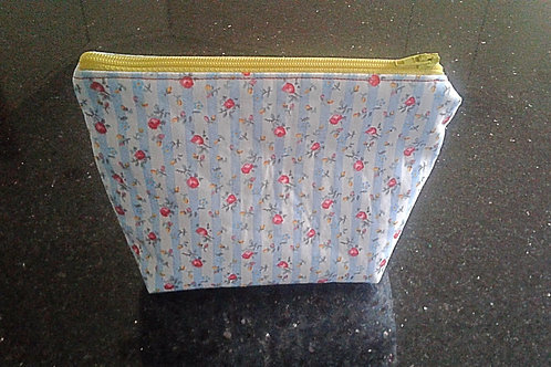 Flower and Blue Stripe Medium Pouch