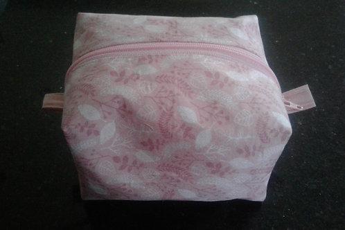 Pink Leaf Print Box Pouch