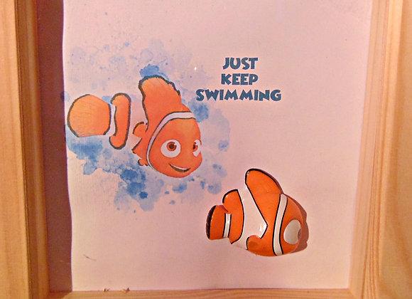 Nemo Mini figure Art in pine frame 15cm x 15cm