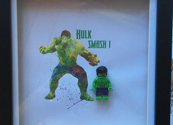 Hulk minifigure Art in black frame 15cm x 15cm