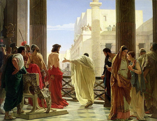 Jesus Pilate crowd crucify trial.jpg