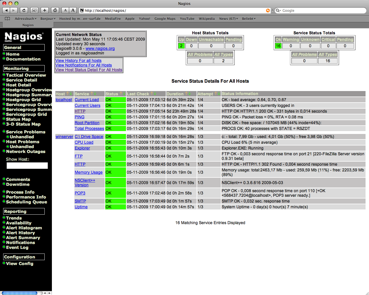 Service and Host Status via Nagios