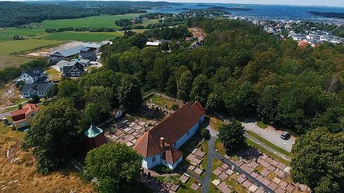 Drönarbild kyrka björlanda