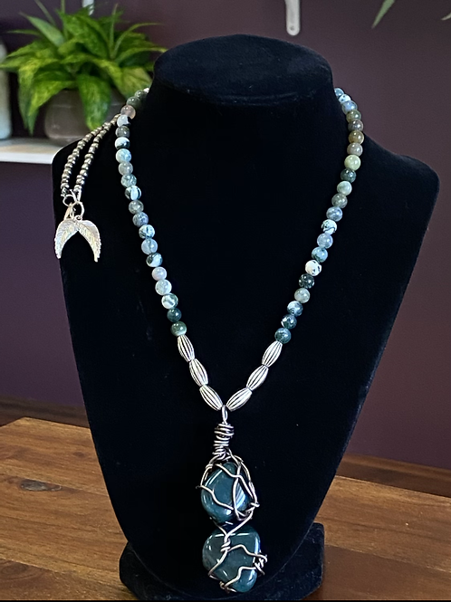 Blood stone Wrapped Necklace