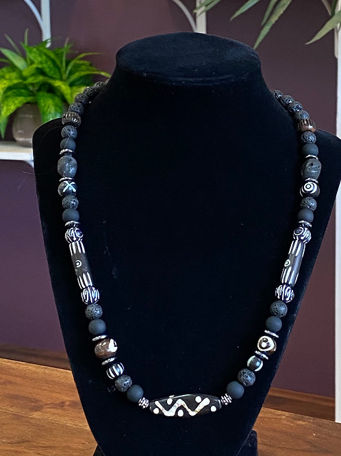 Pyrite Wood Necklace