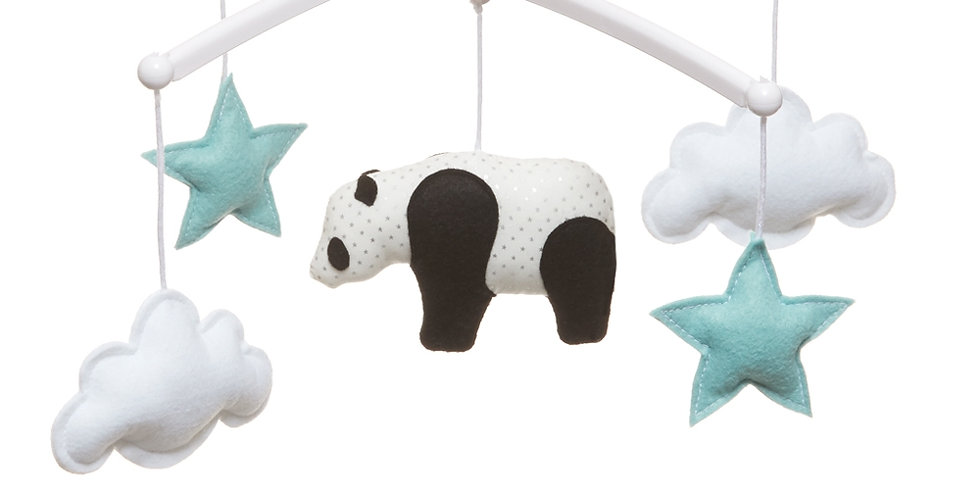 Mobile musical Panda - bleu