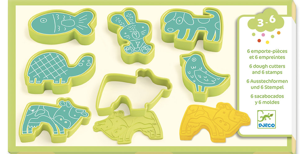 Pate à modeler - 6 emporte pièces et 6 empreintes animaux familiers
